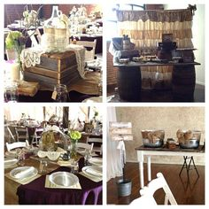 Love the galvanized servers with berlap bows and the ruffles drape and the wine barrels