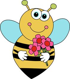 Free Bee and Flower Clipart Image - Bee and Flower Clipart ~ Free Clipart Images