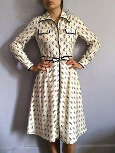 70s shirtdress secretary dress 1970s shantung button down a-line shirt dress with piping belted dress 70s aline dress shan