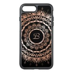 Rose Gold Black Floral Mandala Monogram OtterBox Symmetry iPhone 8 Plus/7 Plus Case - elegant gifts classic stylish gift idea diy style