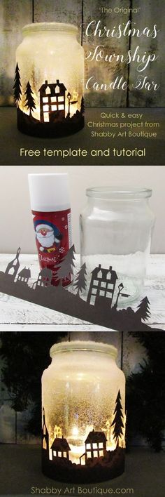 Get the free template and quick and easy tutorial for making the Christmas Township Candle Jar by Shabby Art Boutique. Looks amazing when illuminated at night. Use tealight candles, battery operated candles or battery operated bud lights. best #candle #making