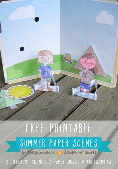 #freeprintable Summer Paper Scenes by BitsyCreations for Somewhat Simple  #filefolder #summerprintable
