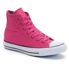 Women's Converse Chuck Taylor All Star Neoprene High-Top Sneakers ($65) ❤ liked on Polyvore featuring shoes, sneakers, med pink, high top sneakers, converse trainers, pink sneakers, pink high tops and lacing sneakers