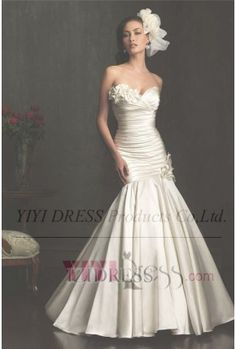 OUR PRICE: $239.39 Trumpet/Mermaid Strapless Sweetheart Satin Wedding Dress
