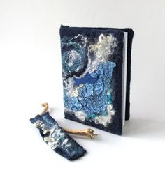 Felted journal notebook cover  blue sea star galaxy by galafilc,
