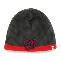 d849b94b0b3a1 Washington Nationals Grid Fleece Beanie Charcoal 47 Brand YOUTH Hat