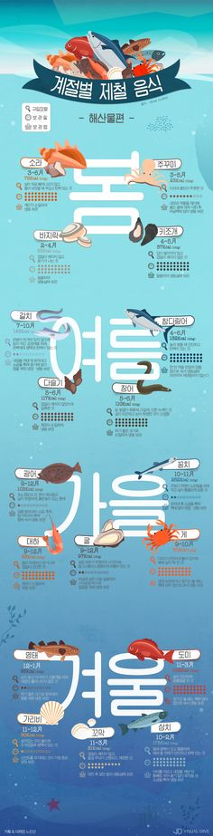 """지금은 광어 시대!"" 노량진에서도 안 알려주는 제철 해산물 [인포그래픽] #Fish / #Infographic ⓒ 비주얼다이브 무단 복사·전재·재배포 금지 Information Architecture, Information Design, Information Graphics, Web Design, Food Design, Layout Design, Creative Poster Design, Editorial, Learn Korean"