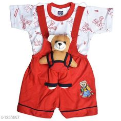 Dungarees Elegant Printed Kid's Clothing Set Fabric: Cotton Hosiery Sleeves: Half Sleeves Are Included Size: Age Group (0 Months - 6 Months) - Chest-12 inShoulder-2.5 inLength-14 inSleeve Length-3 inWaist-8 in Age Group (6 Months - 12 Months) - Chest-14 inShoulder-2.5 inLength-15 inSleeve Length-3.5 inWaist-10 in Age Group (12 Months - 18 Months) - Chest-16 inShoulder-3 inLength-16 inSleeve Length-4 inWaist-12 in Age Group (18 Months - 24 Months) - Chest-18 inShoulder-3 inLength-17 inSleeve Length-4.5 inWaist-14 in Type: Stitched Description: It Has 1 Pieces Of Kid's Top & 1 Pieces Of Kid's Bottom Work: Printed Country of Origin: India Sizes Available: 0-6 Months, 6-12 Months, 12-18 Months, 18-24 Months   Catalog Rating: ★4.3 (10770)  Catalog Name: Cute Elegant Printed Kids Clothing Sets Vol 4 CatalogID_158187 C62-SC1152 Code: 143-1250267-528