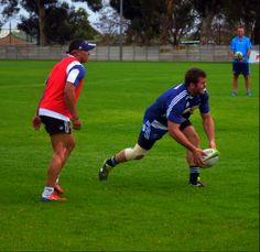 Cheslin Kolbe and Jaco Taute at the Stormers rugby practice session in Cape Town