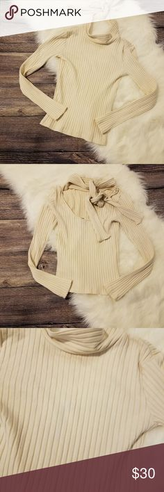 TopShop Boutique Ribbed Neck-Tie Sweater Excellent condition. On flat lay, roughly 13.5 inches pit to pit and 18 inches shoulder to hem.  *Please note, colors may vary from phone to phone. -bn3- Topshop Tops