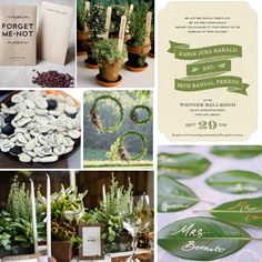 "We LOVE colors and textures with a nod to Mother Nature. Get inspired by our eco-friendly wedding mood board featuring Evermine's ""Rustic Bistro"" style Wedding Invitations in green."