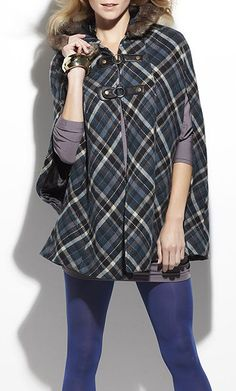 Blue Plaid Anise Wool-Blend Cape