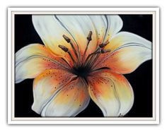 """Tiger Lily""  Black and White Art - Orange Wall Decor by Elizabeth Moran, $240.00"
