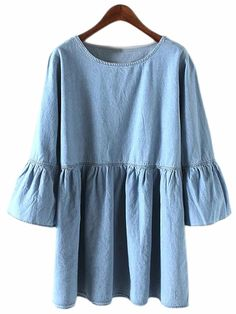 Shop Blue Round Neck Bell Sleeve Denim Dress online. SheIn offers Blue Round Neck Bell Sleeve Denim Dress & more to fit your fashionable needs.