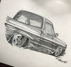 Custom Chevy Trucks, C10 Chevy Truck, Dually Trucks, Car Sketch, Sketch Drawing, Drawing Ideas, Sketches, Cool Car Drawings, Sargento
