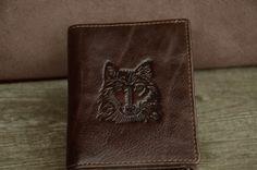 Men Wallet Brown Genuine Leather Wallet Wolf Head Wallet Bi-fold Leather wallet on Etsy, $21.00