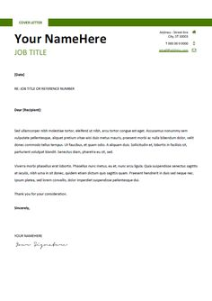 free clean and simple cover letter template for word docx green - Free Resume Template For Word