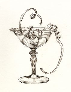 "Lemon Drop Martini ""Sassy Classy"" Art by: Ellie Lukova Ink drawing of a cocktail glass and fruit garnish www.ellielukova.com https://www.facebook.com/ellie.lukova/"
