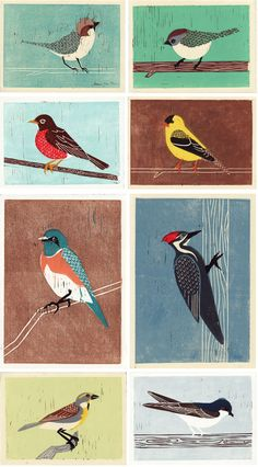 Anna See  handcarved linoleum wood blocks than printed with oil paint
