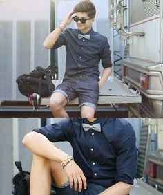 H&M Dark Blue Shirt With White Dots, Topman Bow T Ie, H&M Denim Shorts