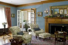 Nice color - we have a similar blue paint in our living room!