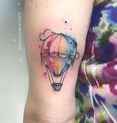 Dream Tattoos, Body Art Tattoos, New Tattoos, Small Tattoos, Sleeve Tattoos, Air Balloon Tattoo, Small Watercolor Tattoo, Little Tattoos, Skin Art