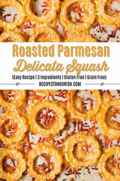 Easy Roasted Parmesan Delicata Squash is such a simple side dish and only 3 ingredients! This mild-flavored squash gets cooked to perfection with the most delicious crispy, cheesy crust.