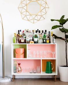 """386 Likes, 22 Comments - MELODRAMA (Krys Melo) (@melodrama) on Instagram: """"IKEA Hack Attack! I updated this IKEA shelf to be the bar of my dreams 🍸🥃🍷🍾💗 Full details on the…"""""""