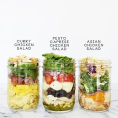 Use One Rotisserie Chicken for 3 Make-Ahead Salads (That Youll Eat All Week! Mason Jar Meals, Meals In A Jar, Salad In A Jar, Soup And Salad, Make Ahead Salads, Photo Food, Pots, Healthy Chicken Dinner, Prepped Lunches