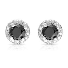 Check out this Finesque Sterling Silver 1ct TDW Black Diamond Halo Stud Earrings on BriskSale: