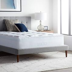 LUCID 4 Inch Down Alternative and Gel Memory Foam Mattress Topper - Three In One for sale online