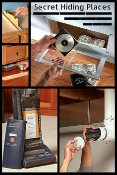 13 Secret Hiding Places: Got some cash or valuables to hide? Try one of these clever, simple ways to hide those items from all but the smartest, most determined crooks. http://www.familyhandyman.com/home-security/20-secret-hiding-places