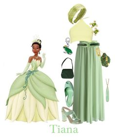 """Tiana"" by babe-b8 ❤ liked on Polyvore featuring Chicwish, JLynch, Judith Leiber, Prada, Betsey Johnson, BillyTheTree, Irene Neuwirth and disneybound"