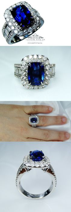 Other Engagement Rings 164308: Gia Certified Platinum 5.13 Tcw Blue Cushion Cut Natural Sapphire And Diamond Ring -> BUY IT NOW ONLY: $5359.33 on eBay!