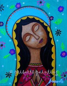 Mexican Virgin Guadalupe Floral Flowers Painting PRINT by prisarts