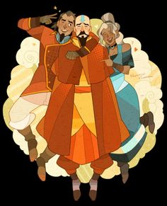 Bumi, Tenzin, and Kya - I kinda hope that the family tension revealed in The Legend of Korra; of Kya and Bumi believing their dad favored Tenzin was not true favoritism, but Aang trying to pass on his heritage and the true spirit of the Air Nomads to the only other airbender in existence. Fans all know how important his culture was to Aang, especially after he learned he was the last.