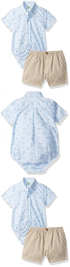 Little Me Baby Boys' Woven Bodysuit and Short Set, Light Blue, 9 Months