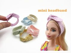 DIY Miniature Doll Mini Headband - Very Easy! Barbie E Ken, Barbie Dolls Diy, Barbie Doll House, Diy Doll, Sewing Barbie Clothes, Barbie Clothes Patterns, Doll Patterns, Clothing Patterns, Accessoires Barbie