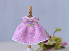 Hey, I found this really awesome Etsy listing at https://www.etsy.com/listing/463127389/4-inches-doll-pink-crocheted-dress-fit