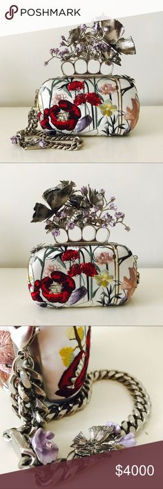 Alexander McQueen SS16 knuckle box clutch Never used SS16 collection.  White and multicolor floral embroidered and satin Flower Knuckle Box Clutch. Butterfly and flower knuckle design. Large wrist chain with floral details. Sold out. Has a slight pull on the embroidery, please see pics.  A collectors item!  Comes with original dustbag and box. Alexander McQueen Bags Clutches & Wristlets