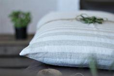 Pillow covers striped white/oatmeal linen soft Stone by RPlinen