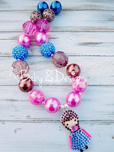 Anna Inspired Chunky Necklace in Brown Pink and Blue by babyzdesigns