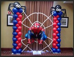 Balloon decor and party rentals for all your special events located in New York City. Balloon arches, installations, centerpieces and columns are our specialty at Paola's Party Land. Spiderman Balloon, Spiderman Theme Party, Superhero Birthday Party, Man Birthday, Balloon Columns, Balloon Arch, Balloon Display, Sculpture Ballon, Dora