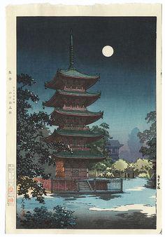 """""""Asakusa Kinryuzan"""", 1938 by Tsuchiya Koitsu (1870 - 1949); Japanese woodblock print #japan #art #japanese #koitsu #moon #night #sky #beautiful"""