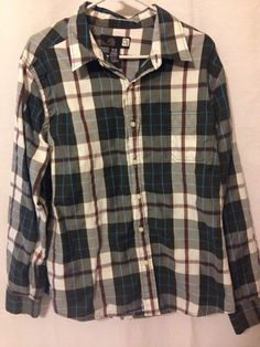 OP Men's Long Sleeve Plaid Shirt, Button Down, 1 pocket, Preowned XL | Clothing, Shoes & Accessories, Men's Clothing, Casual Shirts | eBay!