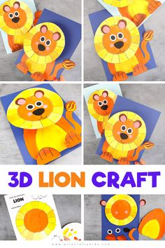 Looking for easy animal crafts for kids to make at home? Take a look at this super easy and fun paper Lion Craft. It will teach kids how to make a lion. Get videos + printable craft templates for these easy lion crafts for kids here! Jungle Crafts, Giraffe Crafts, Ocean Animal Crafts, Farm Animal Crafts, Bear Crafts, Animal Crafts For Kids, Crafts For Kids To Make, Kids Crafts, Panda Craft
