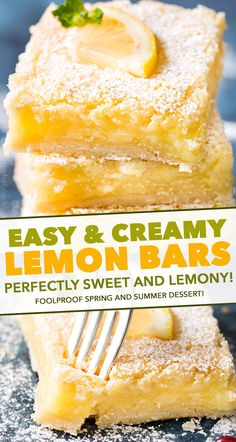 The best Creamy Lemon Bars have an easy shortbread crust and a layer of thick and creamy lemon filling. Perfectly tangy and sweet - such a classic dessert recipe that anyone can make! Easy No Bake Desserts, Homemade Desserts, Easy Desserts, Delicious Desserts, Dessert Recipes, Cookie Desserts, Strawberry Desserts, Lemon Desserts, Lemon Recipes