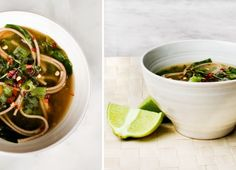 spinach and soba noodle soup / vegan