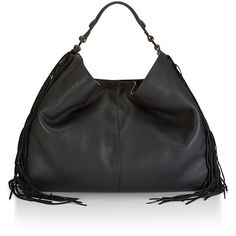 Rebecca Minkoff Heavy Laced Oversized Hobo (3 785 SEK) ❤ liked on Polyvore featuring bags, handbags, shoulder bags, leather handbags, genuine leather handbags, leather shoulder handbags, leather fringe handbag and rebecca minkoff handbags