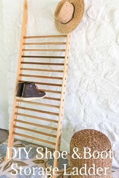 Super easy DIY shoe storage solution project! #shoeorganization #shoestorage #bootstorage Shoe Storage Ladder, Boot Storage, Woodworking Projects Diy, Woodworking Plans, Diy Projects, Shoe Storage Solutions, Storage Organization, Organizing, Do It Yourself Home